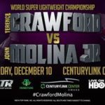 Terence Crawford to Defend 140-Pound Championship Against John Molina Jr. on Dec. 10th in Omaha